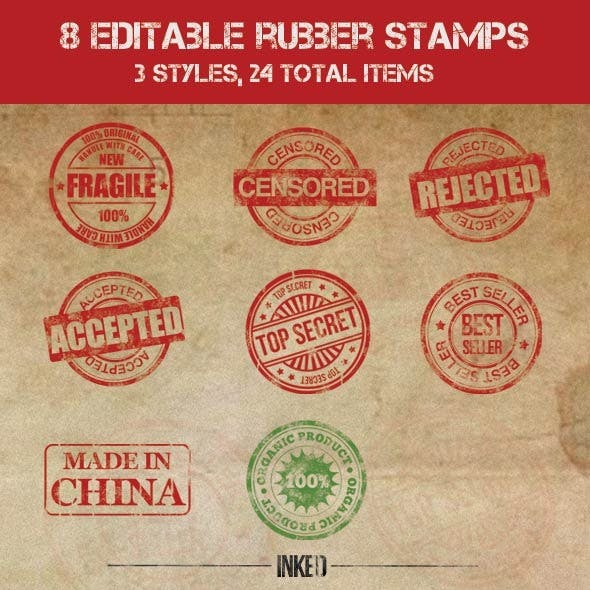 8 Editable Rubber Stamps