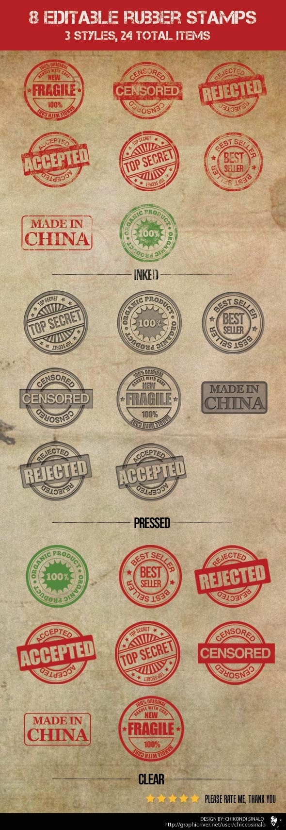 8 Editable Rubber Stamps - Photoshop Add-ons