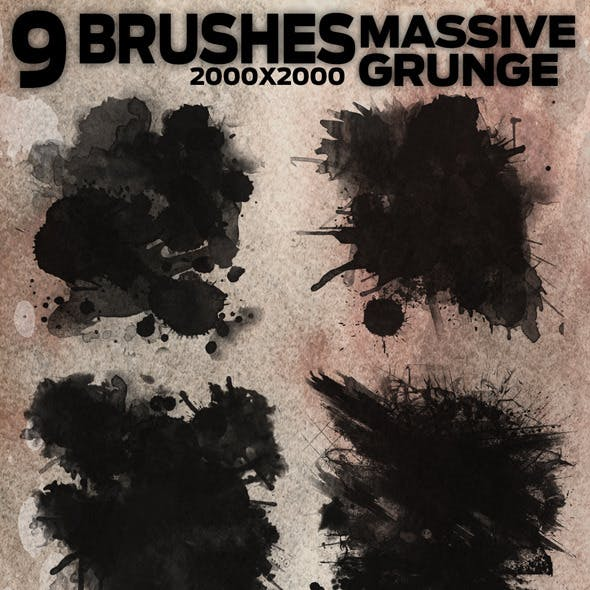 9 Massive Grunge Brushes - 2000x2000