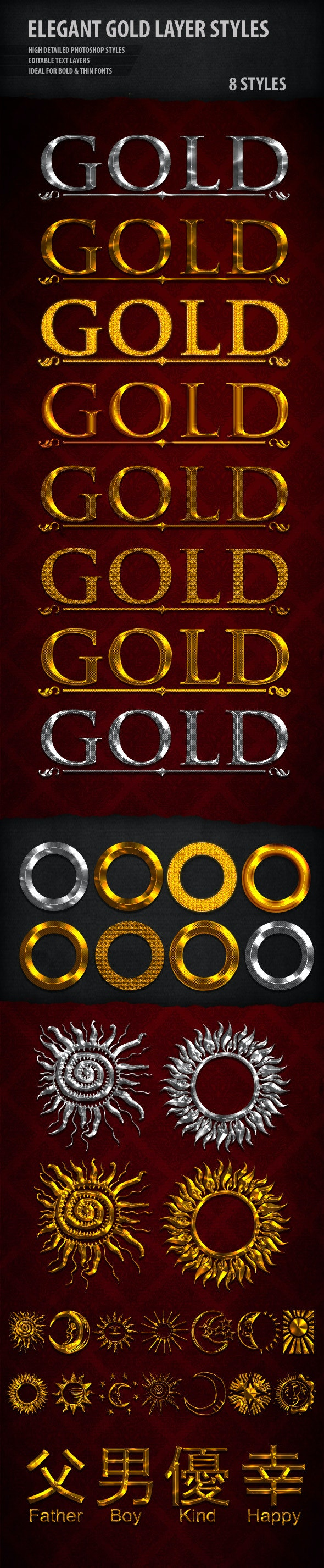 Elegant Gold & Silver Text Styles - Text Effects Styles