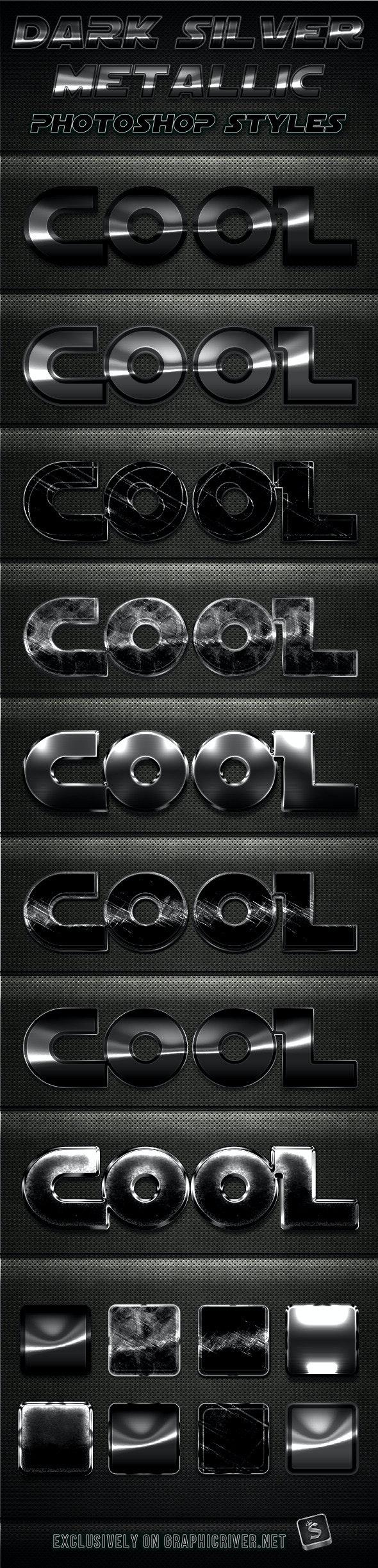 Dark Silver Metallic Photoshop Styles - Text Effects Styles
