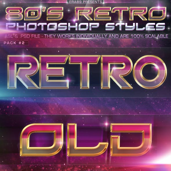 80's Retro Photoshop Styles Pack 2