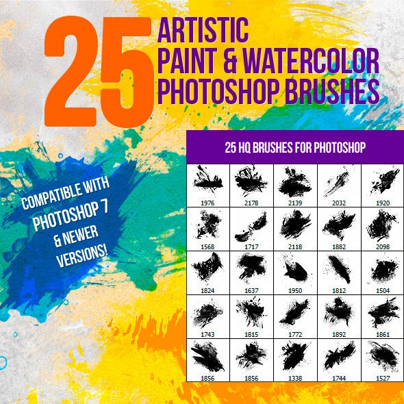 25 Artistic Paint & Watercolor Photoshop Brushes