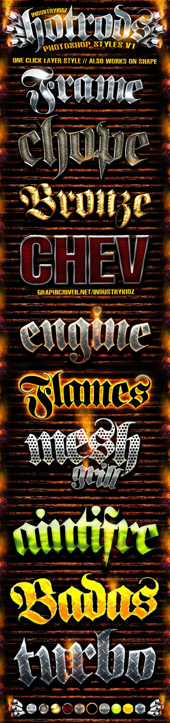 Hotrods Photoshop Styles V1 - Text Effects Styles