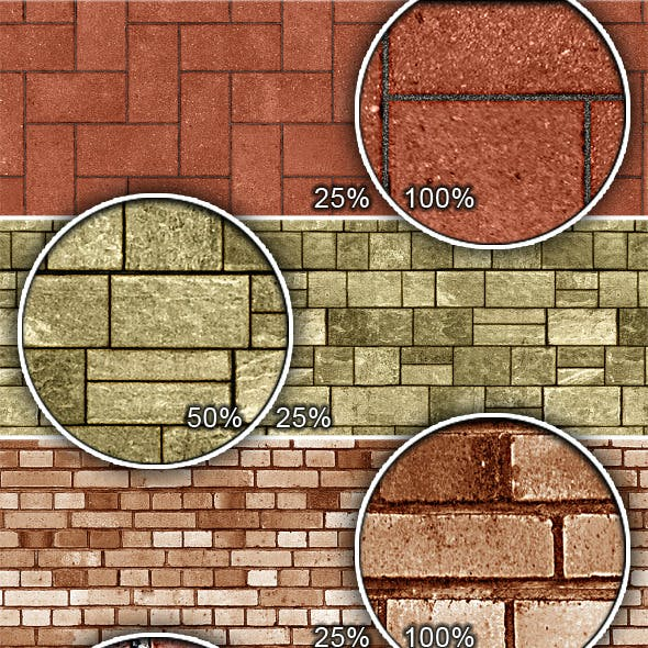 Bricks and Stones Tileable Patterns