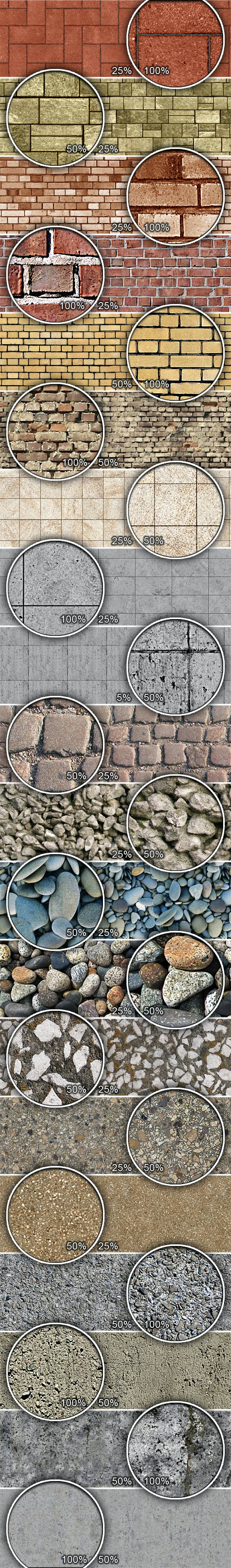 Bricks and Stones Tileable Patterns - Urban Textures / Fills / Patterns