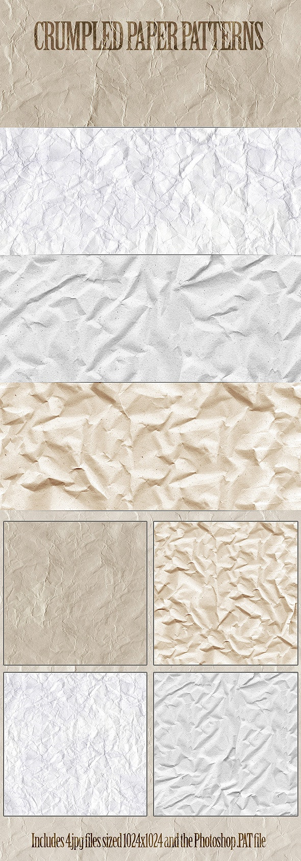 Crumpled Paper Patterns - Artistic Textures / Fills / Patterns