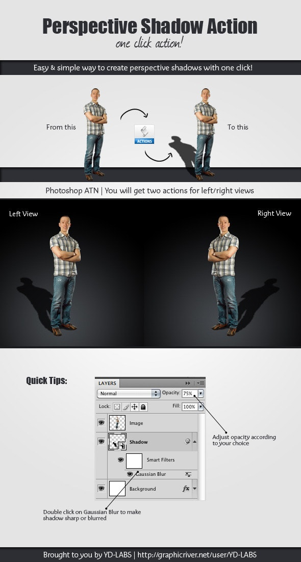 Perspective Shadow Action - Photo Effects Actions