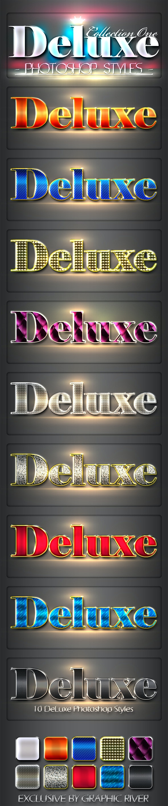 10 DeLuxe Photoshop Layer Styles - Text Effects Styles