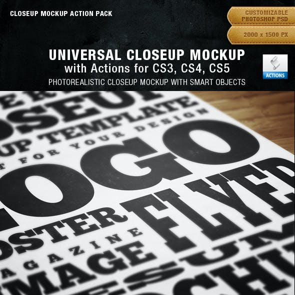 Universal Closeup Mockup Action Pack