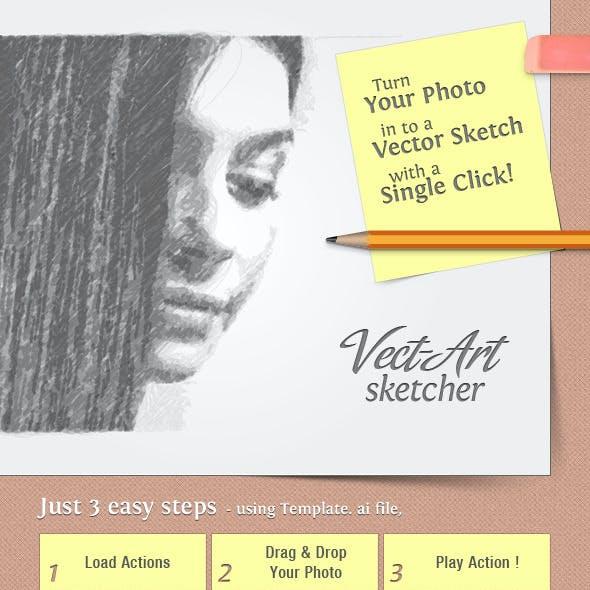 Vect-Art Sketcher - Illustrator Actions Pack