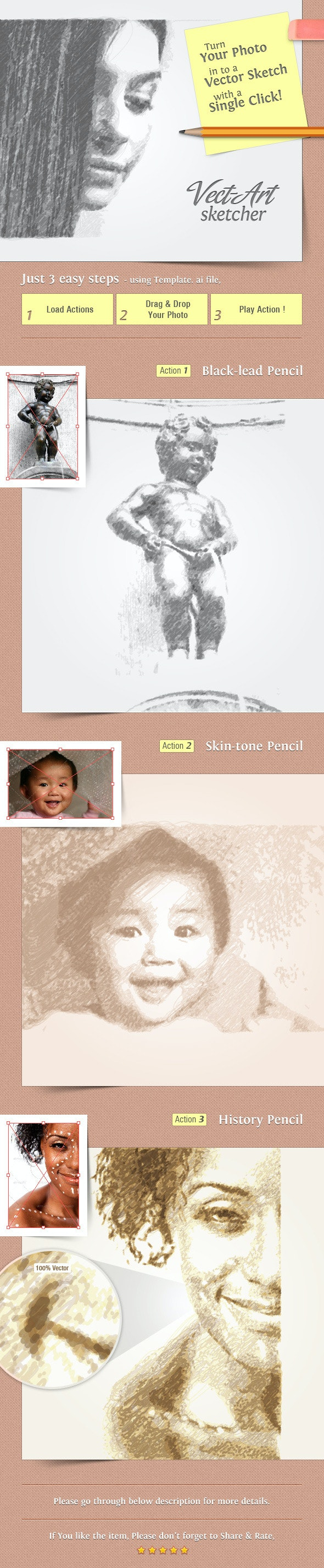 Vect-Art Sketcher - Illustrator Actions Pack - Actions Illustrator