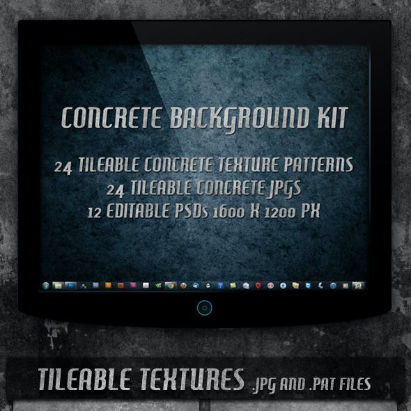 4 Tileable Concrete Textures Background Kit