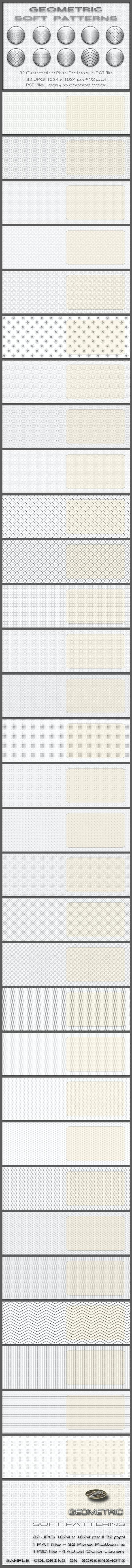 32 Geometric Soft Patterns - Textures / Fills / Patterns Photoshop