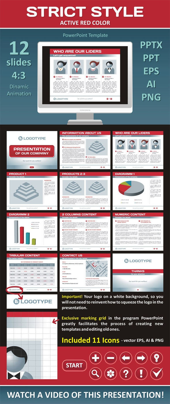 Strict Style - Active Red Color - PowerPoint Templates Presentation Templates