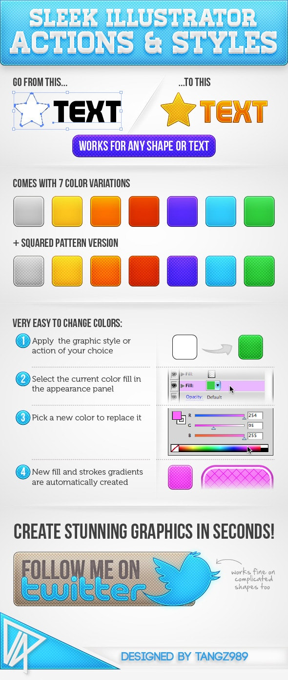 Sleek Illustrator Actions & Styles - Actions Illustrator