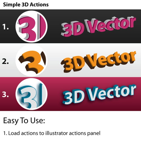 3D Vector - Illustrator Actions Pack