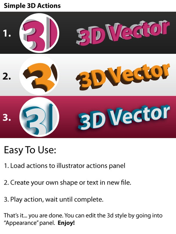 3D Vector - Illustrator Actions Pack - Actions Illustrator