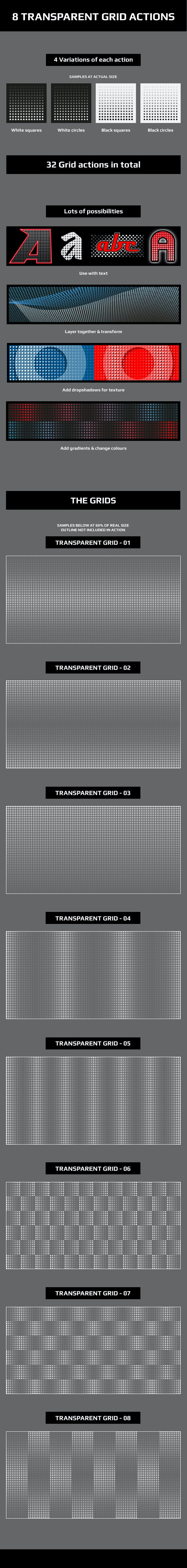 Transparent Grid Actions  - Actions Illustrator