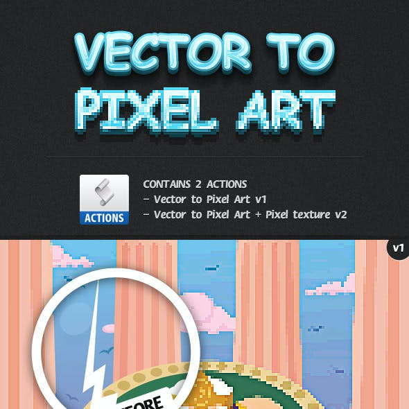 Vector Image to Pixel Art Actions