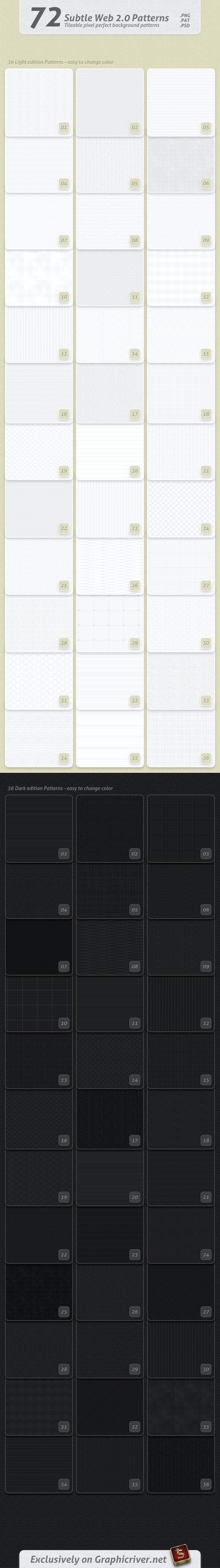 72 Subtle Web 2.0 Patterns - Textures / Fills / Patterns Photoshop