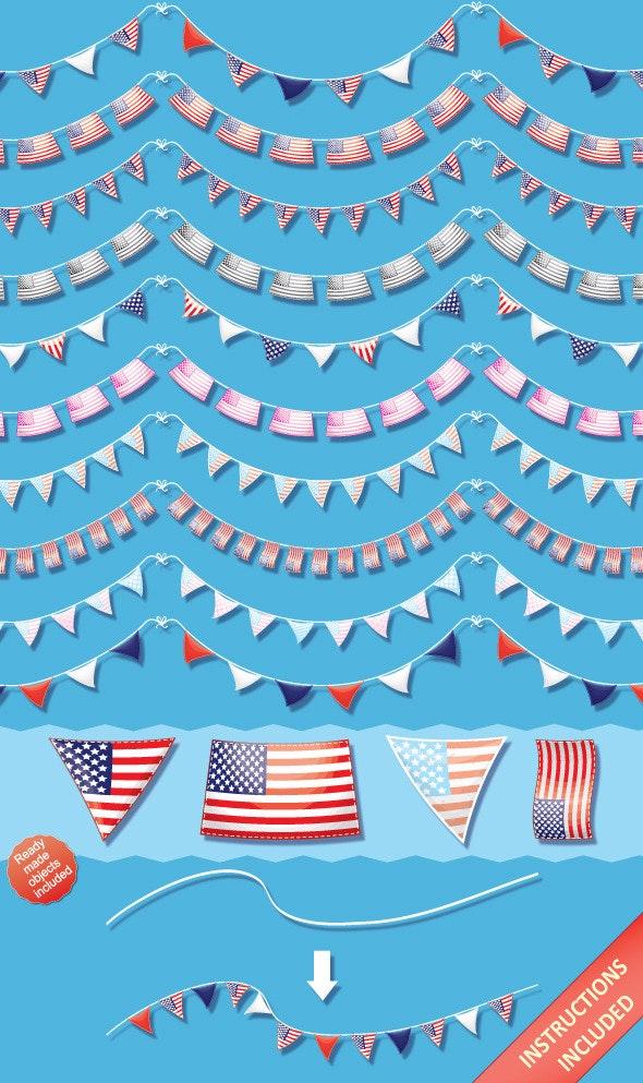 US Pennant Flag Brushes & Ready-Made Objects - Brushes Illustrator