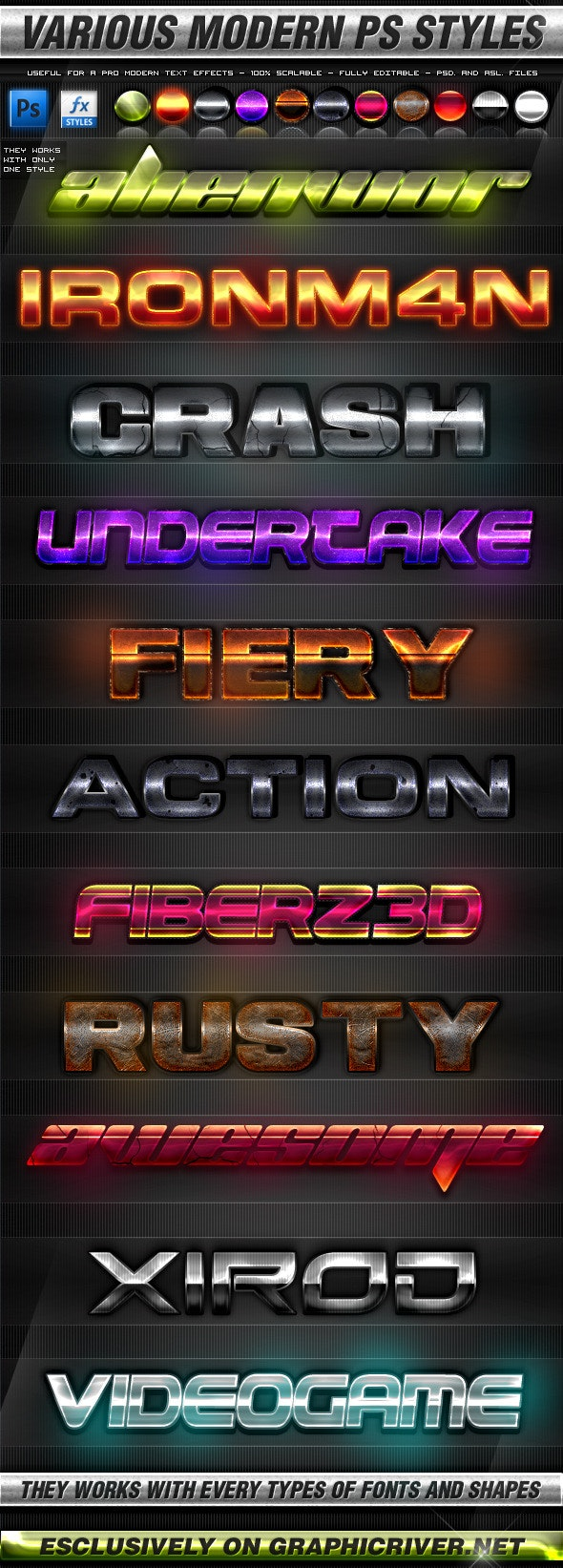 Various Modern Photoshop Styles - Text Effects Styles