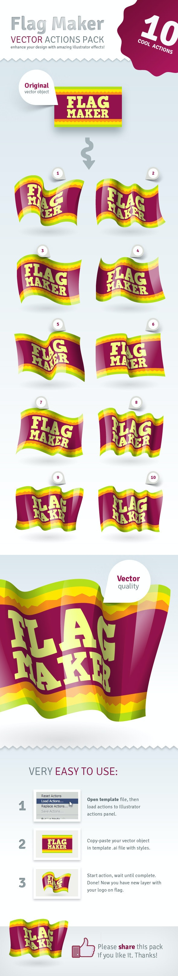 Vector Flag Maker - Illustrator Actions Pack - Actions Illustrator