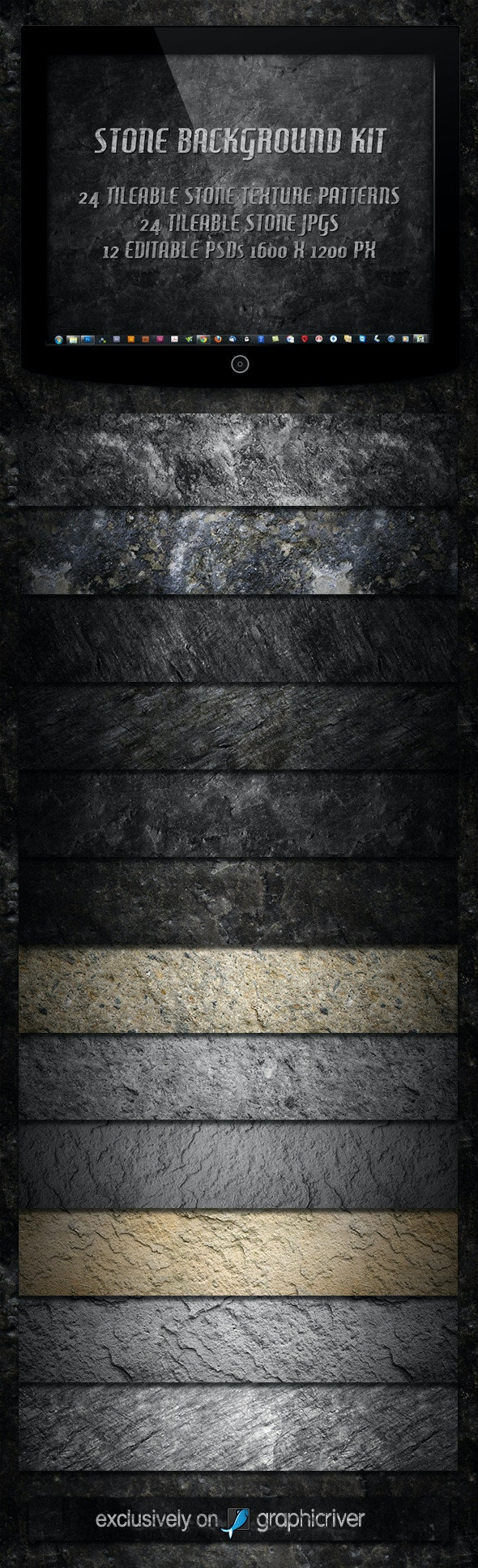 12 Tileable Stone Textures Background Kit - Textures / Fills / Patterns Photoshop