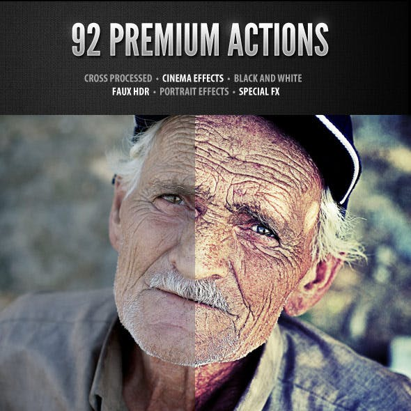 92 Premium Photoshop Actions Set