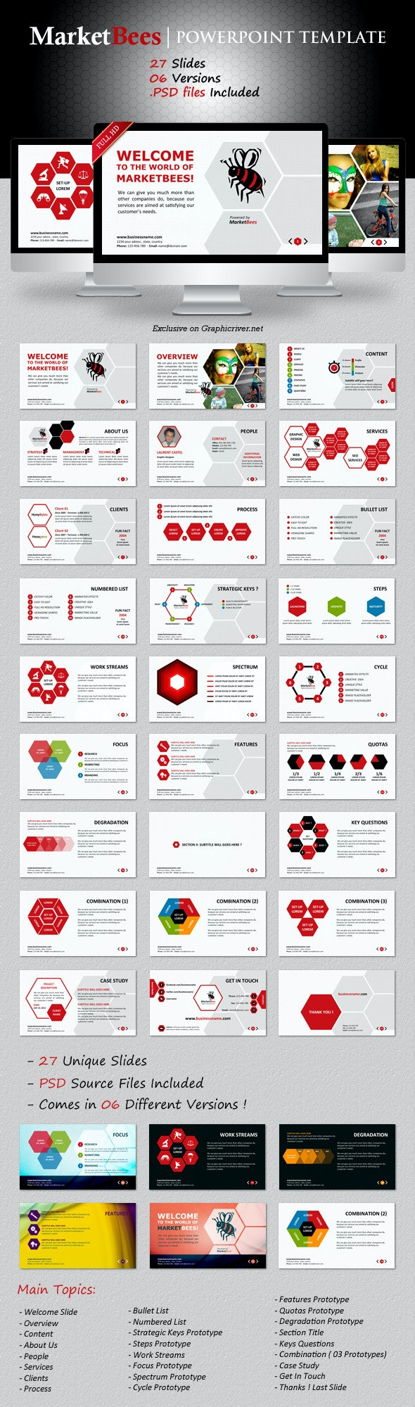 Marketbees PowerPoint Template - Business PowerPoint Templates