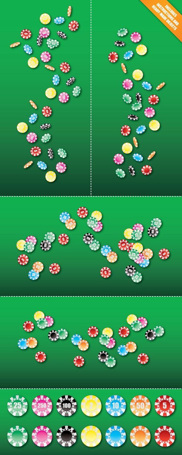 Poker Chip Scatter Brush & Ready-made Objects - Brushes Illustrator