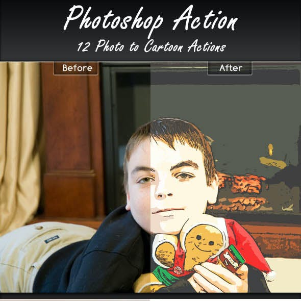 12 Photo to Cartoon Actions