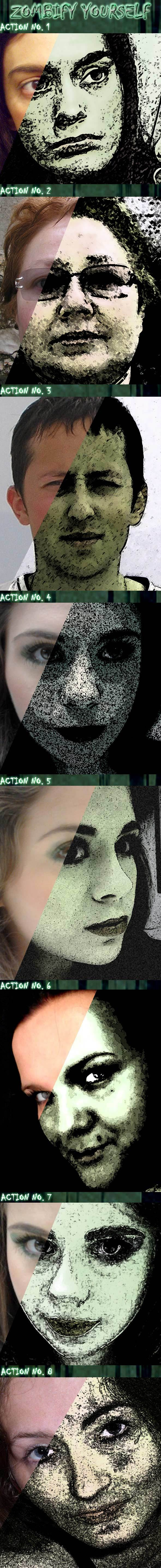 8 'Zombify Yourself' Photoshop Actions - Photo Effects Actions