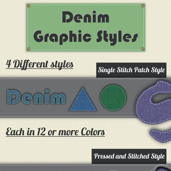 Denim Graphic Styles For Illustrator