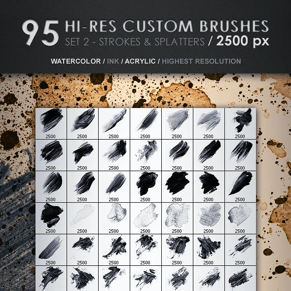 95 Hi-Res Custom Brushes - Strokes & Splatters