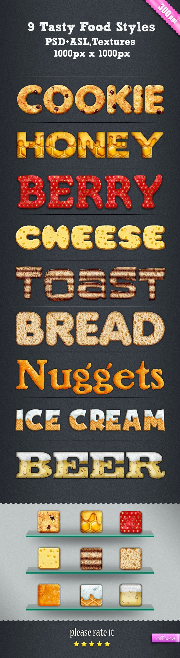 9 Tasty Food Styles - Text Effects Styles