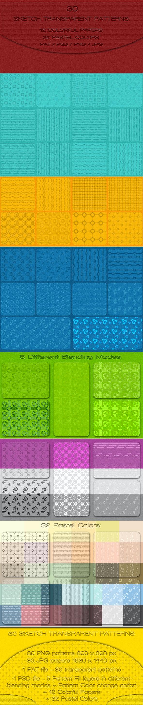 30 Sketch Transparent Patterns - Textures / Fills / Patterns Photoshop