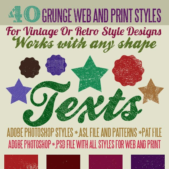 40 Grunge Photoshop Styles And Patterns