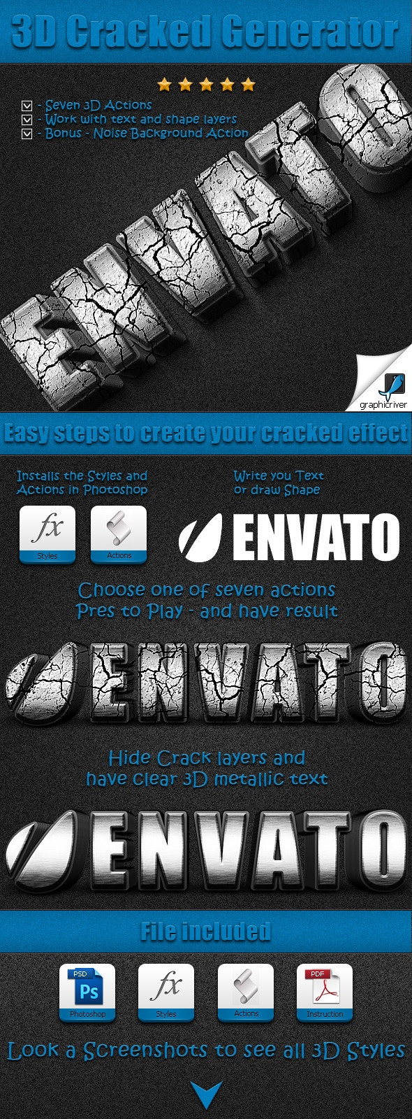 3D Cracked Generator - Actions Photoshop