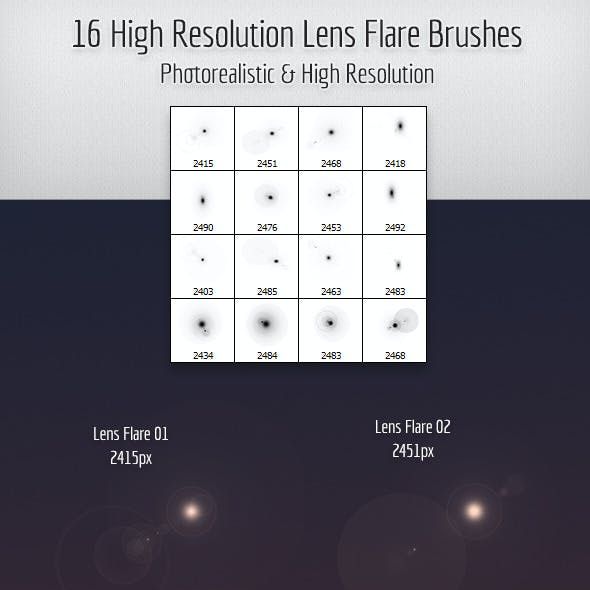 16 High Quality Lens Flare Brushes