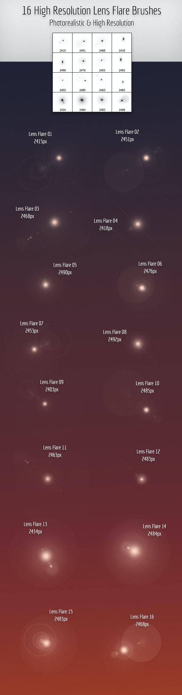 16 High Quality Lens Flare Brushes - Techno / Futuristic Brushes