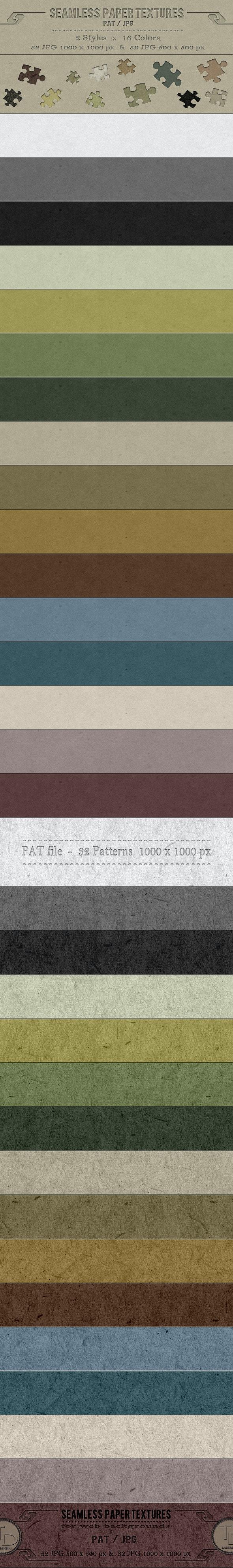 Seamless Paper Textures - Textures / Fills / Patterns Photoshop