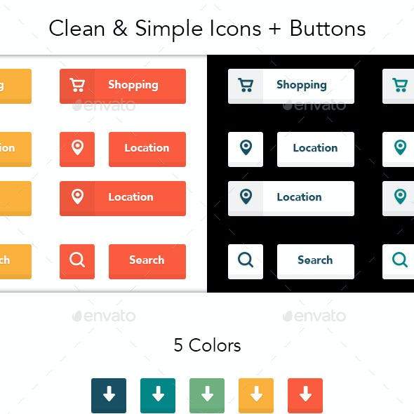 Clean & Simple Icons + Buttons