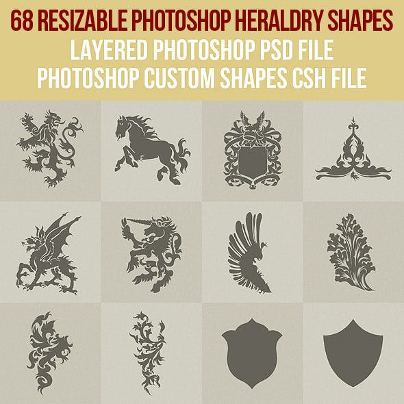 68 Photoshop Heraldry Shapes 1
