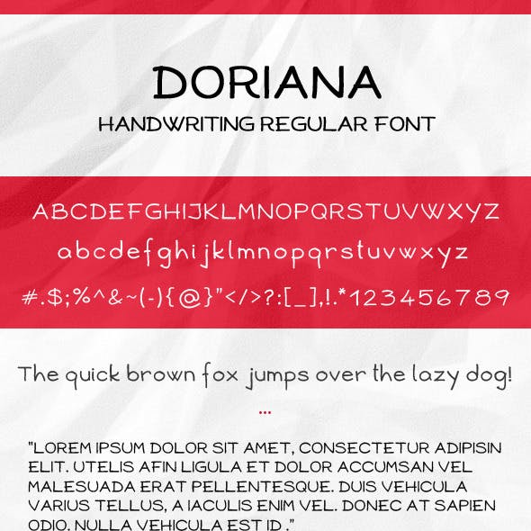 Doriana Handwriting Regular Font