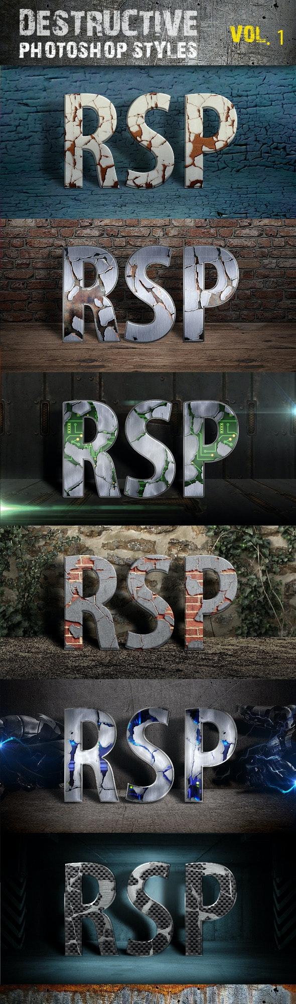 Destructive Photoshop Styles - Text Effects Styles