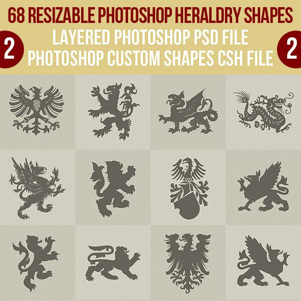 68 Photoshop Heraldry Shapes 2