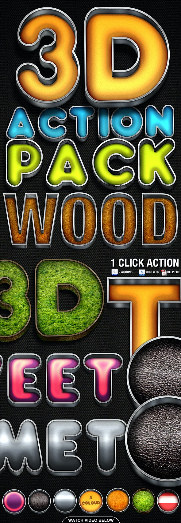 3D Action Pack 2 - Actions Photoshop
