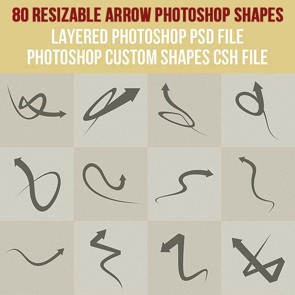 80 Arrow Photoshop Shapes